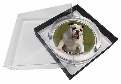 Bulldog 'Love You Dad' Sentiment Glass Paperweight in Gift Box Christm, DAD-14PW