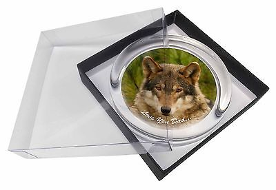 Wild Wolf 'Love You Dad' Glass Paperweight in Gift Box Christmas Pres, DAD-152PW
