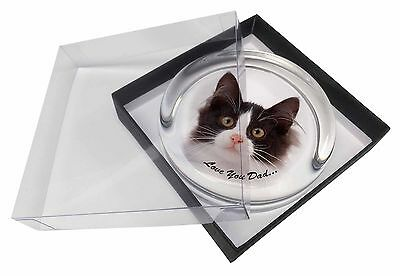 Black, White Cat 'Love You Dad' Glass Paperweight in Gift Box Christm, DAD-161PW