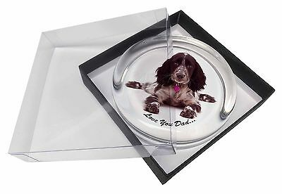 Blue Roan Cocker 'Love You Dad' Glass Paperweight in Gift Box Christm, DAD-186PW