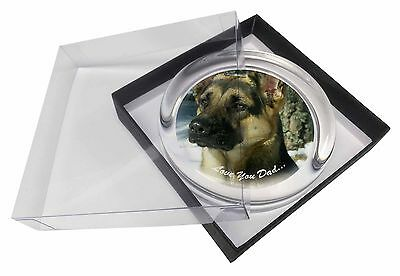 German Shepherd 'Love You Dad' Glass Paperweight in Gift Box Christmas, DAD-33PW