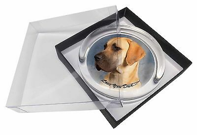 Great Dane 'Love You Dad' Glass Paperweight in Gift Box Christmas Pres, DAD-35PW
