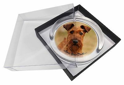 Irish Terrier Dog 'Love You Dad' Glass Paperweight in Gift Box Christm, DAD-58PW