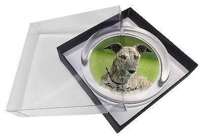 Lurcher 'Love You Dad' Sentiment Glass Paperweight in Gift Box Christm, DAD-76PW