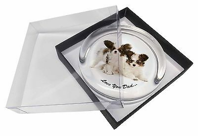 Papillon Dogs 'Love You Dad' Glass Paperweight in Gift Box Christmas P, DAD-83PW