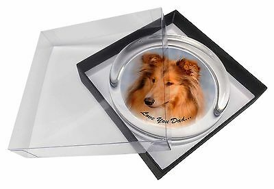 Rough Collie 'Love You Dad' Glass Paperweight in Gift Box Christmas Pr, DAD-90PW