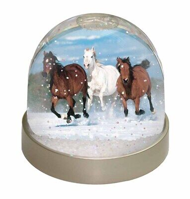 Running Horses in Snow Photo Snow Globe Waterball Stocking Filler Gift, AH-1GL