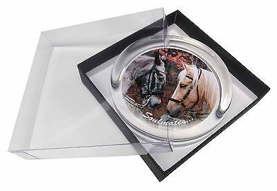 Horses in Love 'Soulmates' Sentiment Glass Paperweight in Gift Box Ch, SOUL-68PW