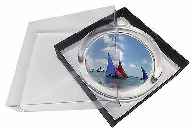 Sailing Regatta Glass Paperweight in Gift Box Christmas Present, SPO-SA1PW