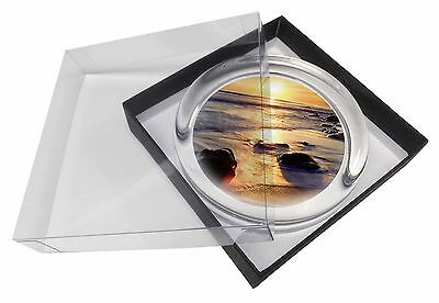 Secluded Sunset Beach Glass Paperweight in Gift Box Christmas Present, SUN-1PW