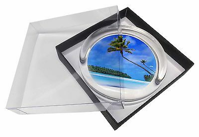 Tropical Paradise Beach Glass Paperweight in Gift Box Christmas Present, W-6PW