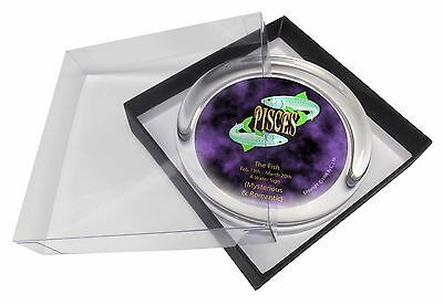 Pisces Star Sign Birthday Gift Glass Paperweight in Gift Box Christmas, ZOD-12PW