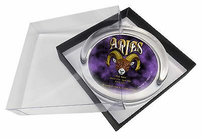 Aries Astrology Star Sign Birthday Gift Glass Paperweight in Gift Box C, ZOD-1PW
