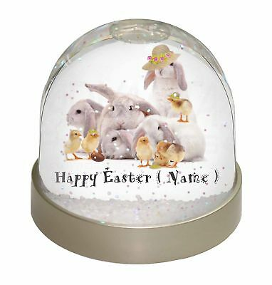 Personalised Rabbits+Chicks Photo Snow Dome Waterball Stocking Fill, EASTER-P1GL
