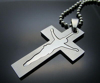Cross of Women/ Men's Silver 316L Stainless Steel Titanium Pendant Necklace