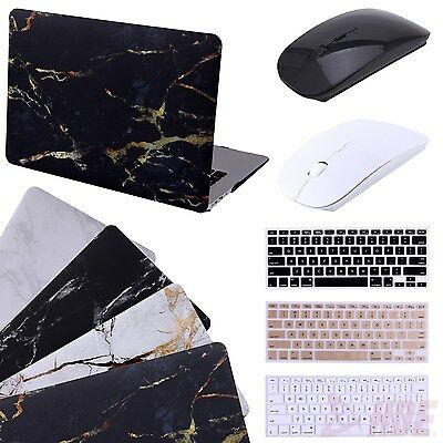 """Marble MacBook Air 13"""" Case Cover +  Silicone Keyboard Skin + Wireless Mouse"""
