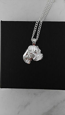 Boxer pendant  side face with heart necklace dog collectible No1.01
