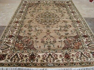 Wow Sarafian Flowers Medallion Lovely Hand Knotted Rug Wool Silk Carpet 6X4