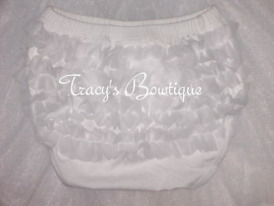 Baby Infant Girl White Cotton Chiffon Ruffle Panty Bloomers Diaper Covers S M L