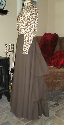 Frontier Classics Chocolate Cotton Victorian Bustle Skirt Dickens Steampunk SASS