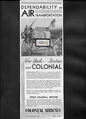 Colonial Airways 1930 Ford Tri-Motor Service New York To Boston 1 Hr 45 Min Ad