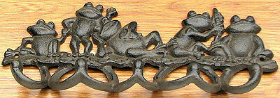 ADORABLE CAST IRON FROG HOOKS Mounted Wall Hook Hanger Rustic Home Decor NEW