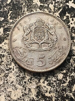 1965 AH 1384 Morocco 5 Dirhams Lot#2561 Silver!