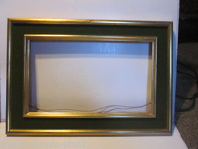 vintage wood picture gold guilded green felt frame hold 18 38 x