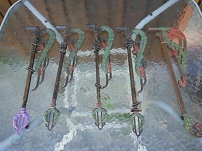 VINTAGE 5 SWING ARM CURTAIN RODS Ornate Colorful