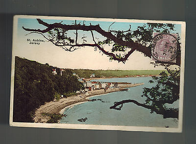 1929 Jersey Channel Islands England Postcard Cover View of St Aubins