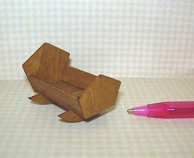 "Miniature SMALL Delicate Wooden Doll Cradle for 1""-1 1/4"" Doll: DOLLHOUSE 1/12"