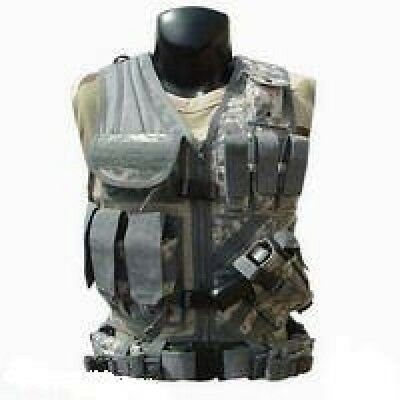 US ACU MOLLE ARMY CROSSDRAW TACTICAL AT Digital ASSAULT Weste Vest mit Gürtel