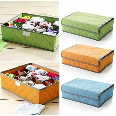 16 Cell Socks Underwear Bra Ties Divider Organizer Drawer Closet Storage Box EW