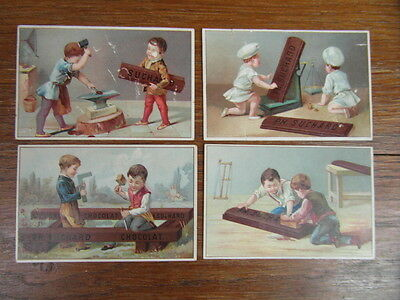 4 CHROMOS SUCHARD 1890 LES PETITS OUVRIERS The little workers