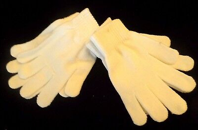2 pair womens NEW NWT ivory white WINTER KNIT GLOVES STRETCH one size SOFT WARM!
