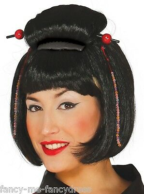 Ladies Black Japanese Chinese Oriental Bob Fancy Dress Costume Outfit Wig Toupee