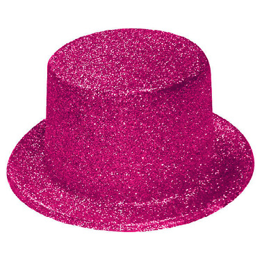 Pink Glitter Sparkle Lincoln Top Hat - Fancy Dress Party Accessory H23 059