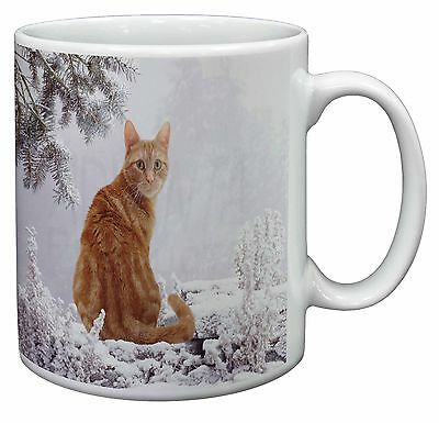 Ginger Winter Snow Cat Coffee/Tea Mug Christmas Stocking Filler Gift Id, AC-63MG