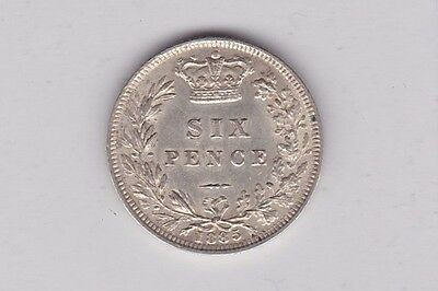 1885 Victorian Young Head Sixpence In Extremely Fine Condition