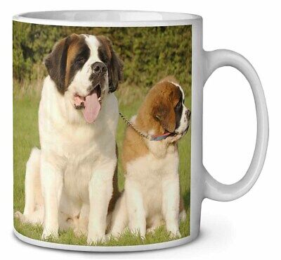 St Bernard Dog and Puppy Coffee/Tea Mug Christmas Stocking Filler Gif, AD-SBE1MG
