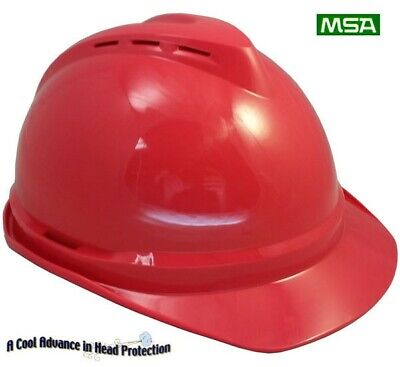 """MSA Cap Style Advance Vented V-Gard Hard Hat /""""WHITE/"""" With Ratchet Susp"""