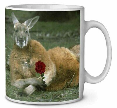 Kangaroo with Red Rose Coffee/Tea Mug Christmas Stocking Filler Gift Id, AK-1RMG