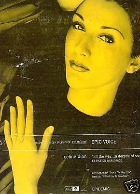 CELINE DION Has An EPIC Voice 1999 PROMO POSTER AD