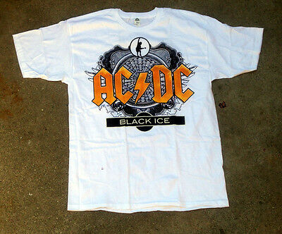 AC/DC Black Ice Logo White Tee Shirt Brand New Size Large Ships Next Day