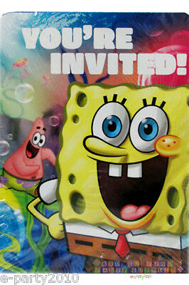 ~ Party Supplies 8 SPONGEBOB SQUAREPANTS Epic INVITATIONS and THANK YOU NOTES