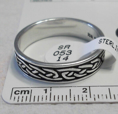 size 13 Sterling Silver 8g 6mm Wide Celtic Knot Band Wedding Style Ring