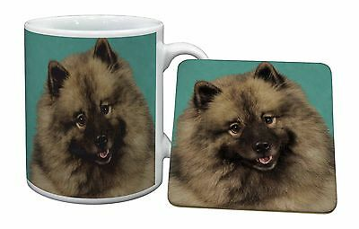 Keeshond Dog Mug+Coaster Christmas/Birthday Gift Idea, AD-KEE1MC