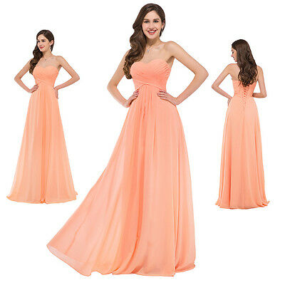 Summer Chiffon Evening Formal Cocktail Party Wedding Dress Long Bridesmaid Prom
