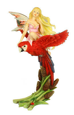 Lubamuse Fairy on Parrot Figurine Faerie Glen  - Munro Gifts LAST ONE RETIRED
