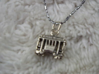 Sterling Silver Trolley Car Pendant Necklace (C11)